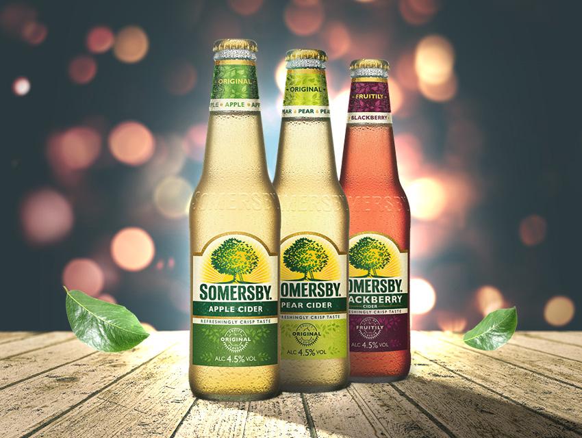 3 разных бутылки сидра Somersby