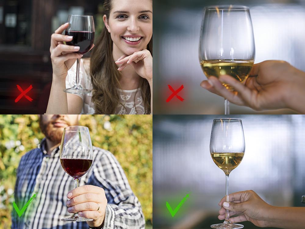 Как правильно держать бокал с красным и белым вином