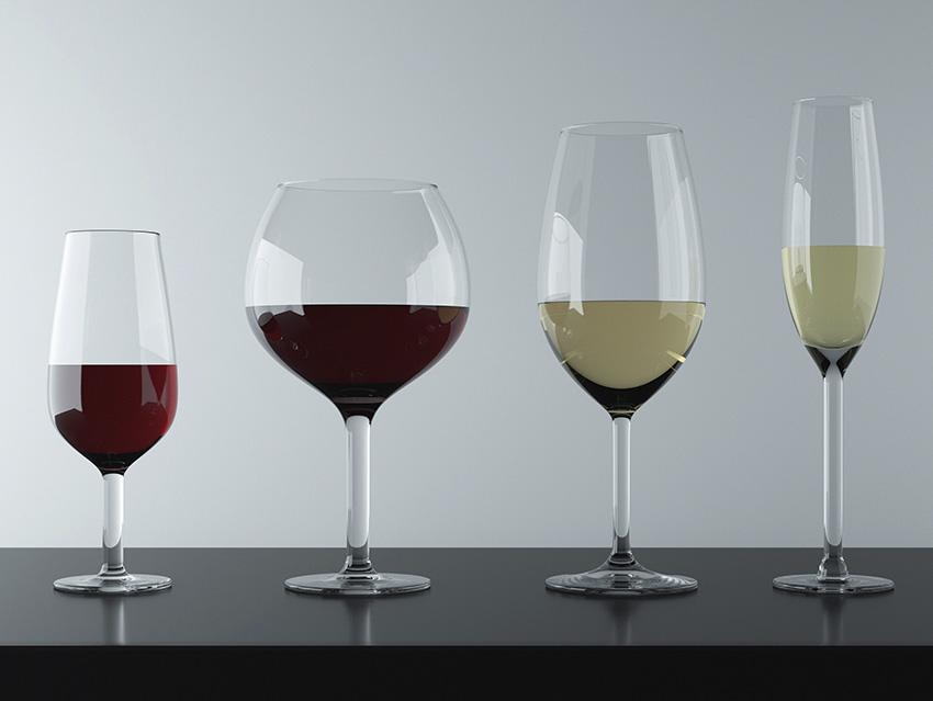 Разные виды вина в бокалах, в которых должны подаваться